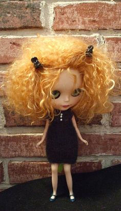 Blythe Dress Black knit Baby Doll Dress for Blythe by Wymzeeknit, $25.00