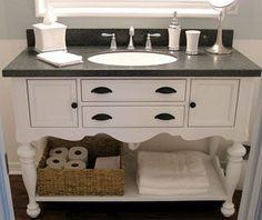 Vanity Hall Bathroom Units upcycled desk as vanity. soapstone top. turquoise and orange