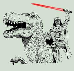 Darth Vader Riding a T-Rex  Created by Eugene Pasternaque  Website || deviantART  (via:walkingontheskywithasaber)