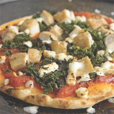 Spread marinara on flat bread. Add some spinach, feta cheese, and precooked chicken breast. Cook for 6 min at 375 d. Only 440 calories