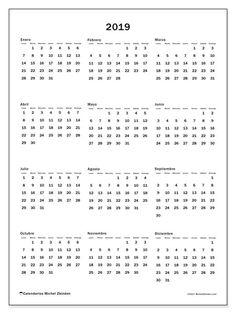 Calendario 2019 (33LD). Calendario imprimible gratis. Printable Planner, Free Printables, Bullet Journal Tracking, Diy Agenda, Planner Book, Calendar 2020, Diy Scrapbook, Clip Art, Lettering