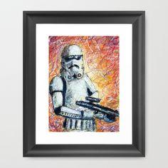 Trooper Scribble Framed Art Print by Mike Brennan - $35.00
