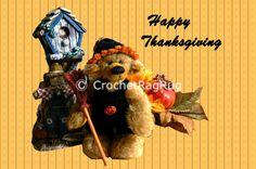 Teddybär digital Grusskarte Bärige Thanksgiving von CrochetRagRug