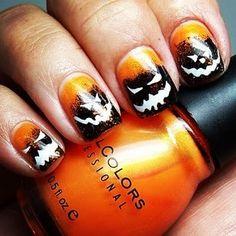 Halloween pumpkin nails