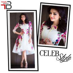 Get the Kajal Aggarwal's gorgeous look in this white floral printed dress from the stylish collection of Trendybharat.