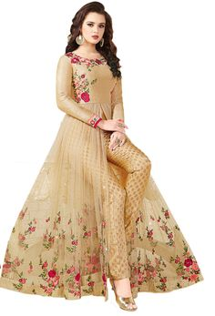 Shop beige art silk,net achkan style salwar kameez , freeshipping all over the world , Item code Net Dresses Pakistani, Party Wear Indian Dresses, Gown Party Wear, Designer Party Wear Dresses, Indian Gowns Dresses, Party Wear Lehenga, Dress Indian Style, Kurti Designs Party Wear, Pakistani Dress Design