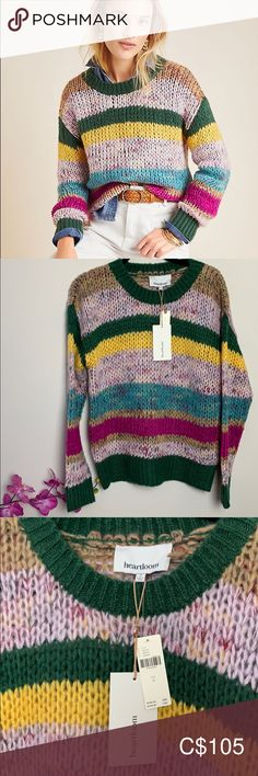 NWT Heartloom  Dawson striped sweater. Heartloom For Anthropologie Dawson Striped Sweater Whisper soft Cheery colours 24 inch length  23 inches armpit to armpit Acrylic polyamide blend Hand wash Anthropologie Sweaters Crew & Scoop Necks