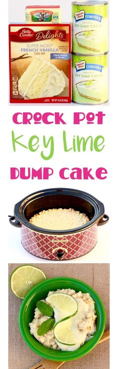 Craving some Key Lime deliciousness? You'll love this EASY Crock Pot Key Lime Dump Cake Recipe! Just 3 ingredients and pure Key Lime heaven! (dessert ideas for party 3 ingredients) Slow Cooker Desserts, Crock Pot Desserts, Brownie Desserts, Köstliche Desserts, Delicious Desserts, Yummy Food, Desserts For Camping, Homemade Desserts, Crock Pot Food