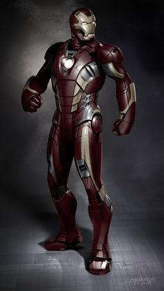 """Track Suit"" Early Mark 42 Concept - Iron Man 3 concept art by Phil Saunders"