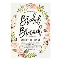 Bohemian Feathers and Floral Wreath Flowers BRIDAL SHOWER BRUNCH Invite…