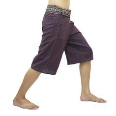Purple Thai Fisherman Pants Short 3/4 with Thai hand woven fabric on waist side, Wide Leg pants, Wrap pants, Unisex pants  $22.00 Free shipping