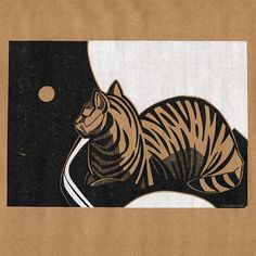 The cat and the ball II Chine collé linocut print 2014 negaremdadian.tumblr.com