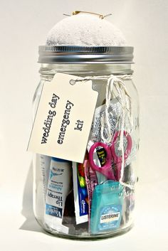 Wedding Day Emergency Kit. Definitely need to make one of these for each of the bridesmaids :)