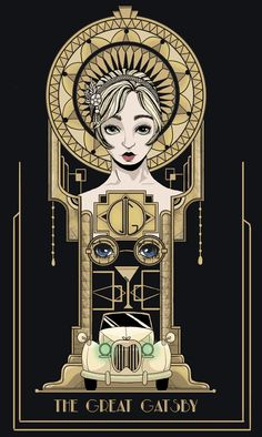 illustration the great gatsby art deco gold and black