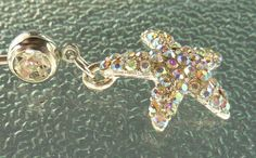 Swarovski crystal Stainless steel belly ring by BlueBubbleCrystals