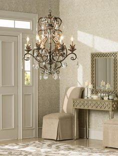 Inspiration Room.   Trad Glam foyer decorating with crystal chandelier.