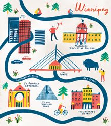 Charlotte Trounce, is the British Artist Behind These Adorable City Maps. In the picture: Trounce's illustrated map of Winnipeg, Canada. Photocollage, Travel Maps, Travel Posters, Travel Illustration, Map Design, Graphic Design, City Maps, Map Art, Illustrations Posters