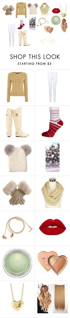 """cute  winter"" by nerdy-anime-fan on Polyvore featuring Lauren Ralph Lauren, Miss Selfridge, Not Rated, Eugenia Kim, Casetify, Black, Happy Plugs, MAC Cosmetics, Too Faced Cosmetics and Tiffany & Co."