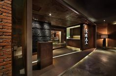 "Here is the Japanese barbecue restaurant design by Golucci International Design. Yakiniku Master in Shanghai, China. The restaurant has an area of 350 square meters, the design concept is ""contemporary old Shanghai style Grill Restaurant, Hotpot Restaurant, Restaurant Entrance, Restaurant Facade, Luxury Restaurant, Japanese Restaurant Design, Restaurant Interior Design, Commercial Interior Design, Commercial Interiors"