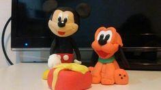 Mickey y Pluto porcelana fría