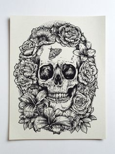 floral skull tattoo drawing