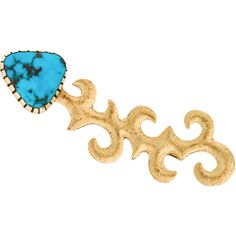 Pre-owned 18K Turquoise Brooch ($795) ❤ liked on Polyvore featuring jewelry, brooches, preowned jewelry, pin jewelry, pre owned jewelry, green turquoise jewelry and fish jewelry