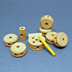 Wooden Tinker Toy Connector Spools Vintage Early 1960s.