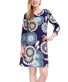 Take a look at the Navy & Emerald Shift Dress - Women on #zulily today!