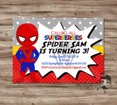 Superhero birthday invitation spider man invitation customized spider man birthday invitation personalized by sewkawaiikids 1000 stopboris Choice Image