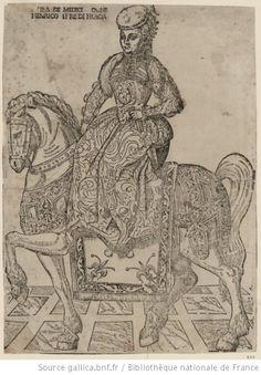 Livre 1, chapitre 24, page 278 : Catherine de Medicis en amazone sur un cheval grâce à l'introduction de la fourche supérieure de la selle, au pommeau et un étrier.