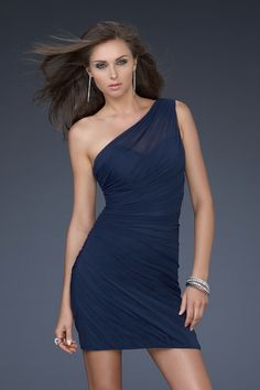 Dark Navy Short Sheath One Shoulder Chiffon Mid Back Cocktail Dress