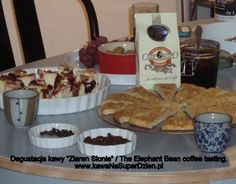 Our coffee tasting party with home made focaccia and a sweet onion spread.