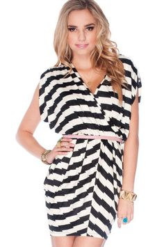 Sidestep Dress in Black and White $46 at www.tobi.com