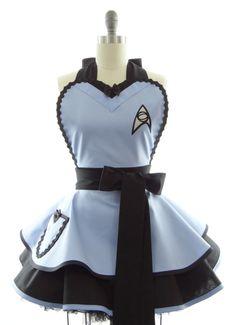 Retro Apron - Original Blue Trekkie Spock Sexy Womans Aprons - Vintage Apron Style - Pin up Trekkie Rockabilly Cosplay