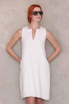 ★★★★★ Great fit, easy pattern, thanks! - Nerissa G  Shift Dress PDF sewing pattern. Classic A-line dress cut just above the knee Signature square and v neck Designed with flat felled seams to neatly encase raw seam edges and give weight and stability to the garment for the perfect drape Two pocket