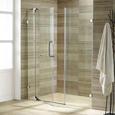 Vigo Pirouette 66 in. x 72 in. Adjustable Semi-Framed Pivot Shower Door in Chrome with Clear Glass-VG6042CHCL66 - The Home Depot