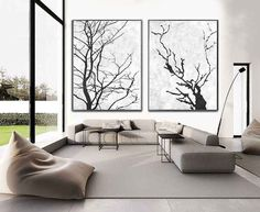 Set Of 2 minimalist art on canvas, hand painted black and white tree painting from CZ ART DESIGN, for minimalist home and modern interiors. @CeilneZiangArt