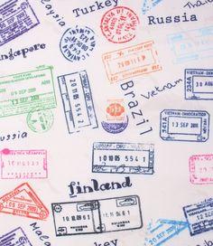 Tela Gabardina Estampada Stamps