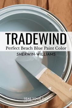 Interior designers chose this paint color as a top beachy blue color. Sherwin-Williams Tradewind Paint Color is among the most popular coastal paint colors preferred by interior designers. Coastal Paint Colors, Bedroom Paint Colors, Interior Paint Colors, Paint Colors For Home, Coastal Decor, Paint Colours, Coastal Cottage, Furniture Paint Colors, Dinning Room Paint Colors