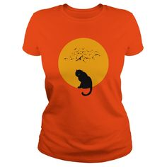 Moon cat features the silhouette of a black cat surrounded by bats and a full moon Great t shirt or hoodie for Halloween or throughout the month of OctoberSimilar moon cat tshirt available with a slightly smaller graphic Halloween Cat, Halloween Shirt, Halloween Quotes, Halloween Parties, Halloween 2017, Halloween Stuff, Funny Shirts, Tee Shirts, Tees