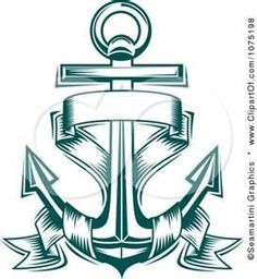 Clipart Teal Nautical Anchor And Banner Logo  Royalty Free Vector