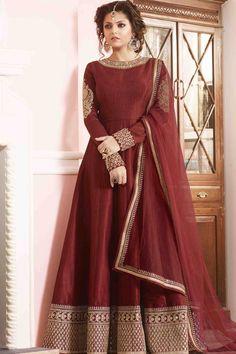 Red Silk Semi Stitch Anarkali Suit                                                                                                                                                                                 More