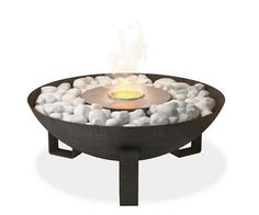 $745    Contemporary and environmentally friendly, our EcoSmart fireplaces make it safe and easy to bring an open flame to any space. Because each ventless fireplace uses bioethanol, a renewable liquid fuel that burns cleanly and efficiently, you get cozy warmth without smoke, sparks or mess.  Dish captures the ambiance of a campfire without the fuss. Built from durable, all-weather steel, it's specifically designed to use on your balcony, deck or patio.