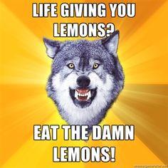 Courage Wolf - lIFE GIVING YOU LEMONS? eAT THE dAMN lEMONS!    *actually, my husband eats lemons...not making this up lol*