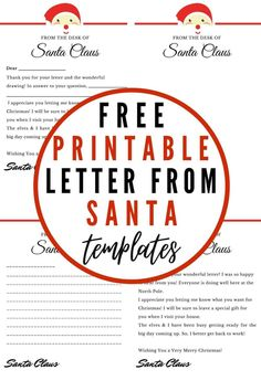 Use any of these four free printable Letter From Santa Templates to delight your kids this Christmas! Respond to your child's letter to Santa by writing to them on one of these cute printable letters from Santa and add some magic to their Christmas! #LetterFromSanta #SantaLetters #LetterFromSantaTemplate #LetterFromSantaPrintable Santa Letter Template, Santa Letter Printable, Letter Templates, Christmas Crafts For Kids, Family Christmas, Cool Signatures, Cute Letters, Letter To Yourself