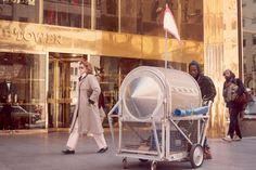 Krzysztof Wodiczko. Homeless Vehicle, 1988-89. post-studio art, intervention. Picture links to an in-depth article on Wodiczko's work with public space: http://people.lib.ucdavis.edu/~davidm/xcpUrbanFeel/ascher.html