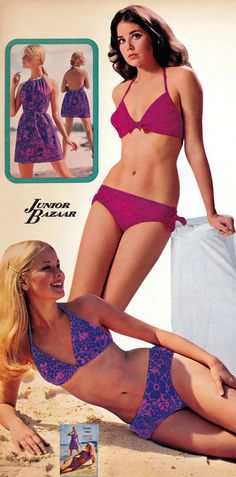 1972 Sears SS p 64 Colleen Corby, Kathy Loghry, Karen Bruun Seventies Fashion, 60s And 70s Fashion, Teen Fashion, Fashion Models, Vintage Fashion, Retro Fashion, Vintage Bikini, Vintage Swimsuits, 70s Outfits