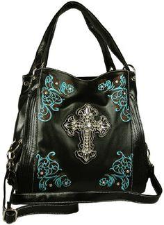 Texcyngoods Womens Western Style Tote Purse Large Handbag with Rhinestone Cross