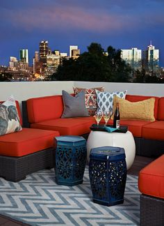 balcony design ideas area rug outdoor chair cushions colorful pillows decorative accents small tables