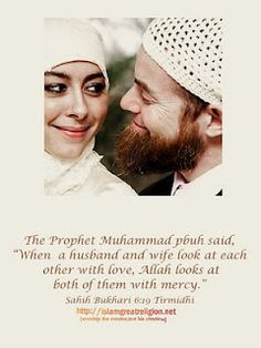 Islamic Wife Husband Quotes: The Prophet Muhammad pbuh said: When a husband and wife look at each other love, Allah look at both of them with mercy. Islamic Quotes, Islamic Teachings, Islamic Inspirational Quotes, Muslim Quotes, Quran Quotes, Islamic Messages, Allah Quotes, Hindi Quotes, Best Friend Poems